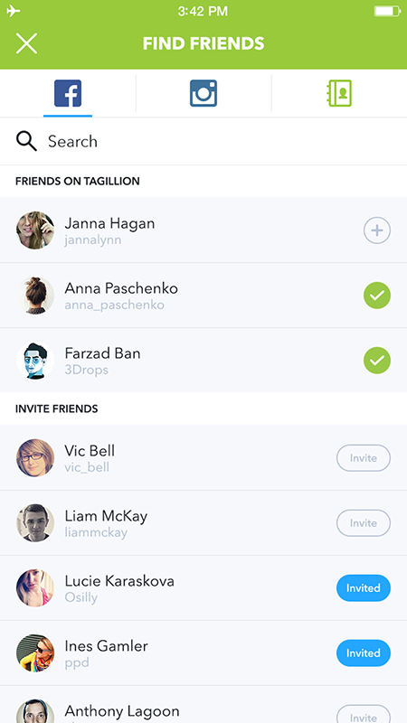 Tagillion app screenshot